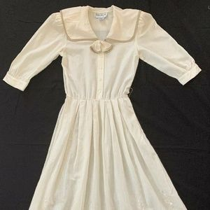 Donna Morgan Shirt Dress S Off White Embroidered